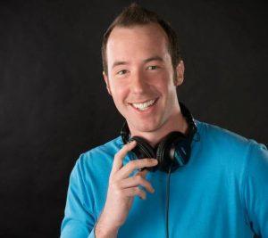 Preston Lee Blue Shirt Headphones